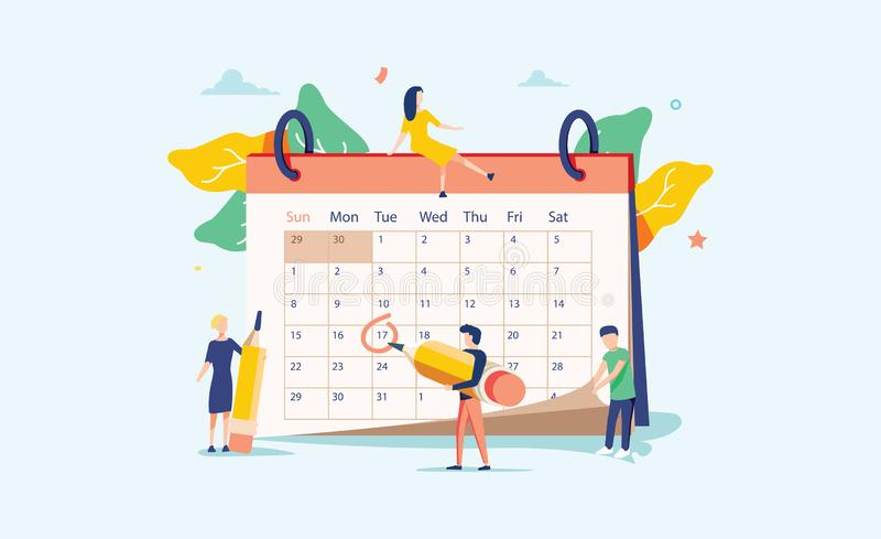 Planning vector illustration. Flat mini persons concept with schedule calendar. System to organize daily routine. stock illustration