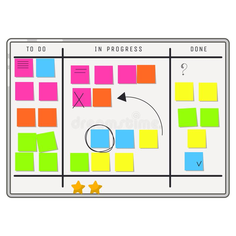 Planning whiteboard organizer with sticker notes. To do tasks and progress processes board scrum methodology stock illustration