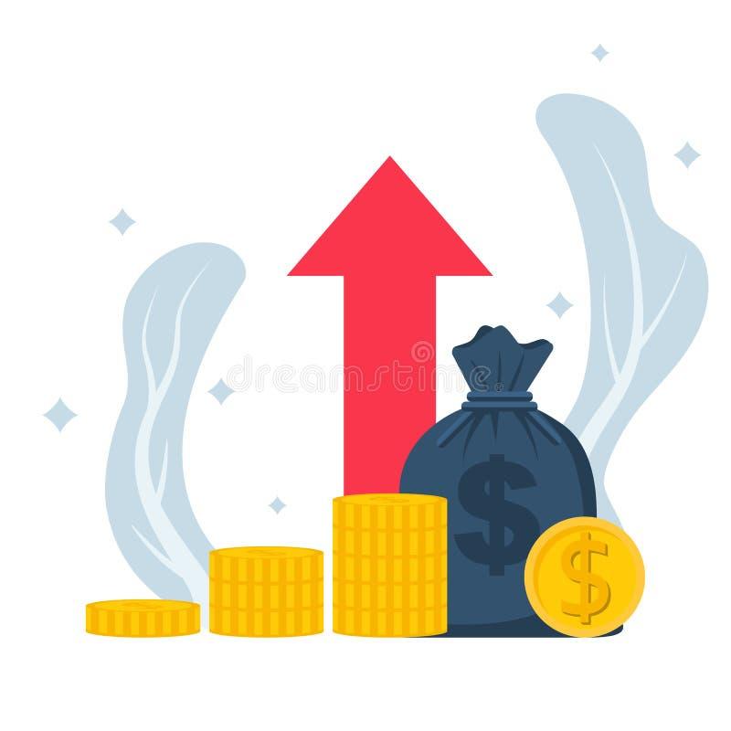 Planningsbesparingen Voorraad van geld en grote zak van dollars in muntstukken stock illustratie