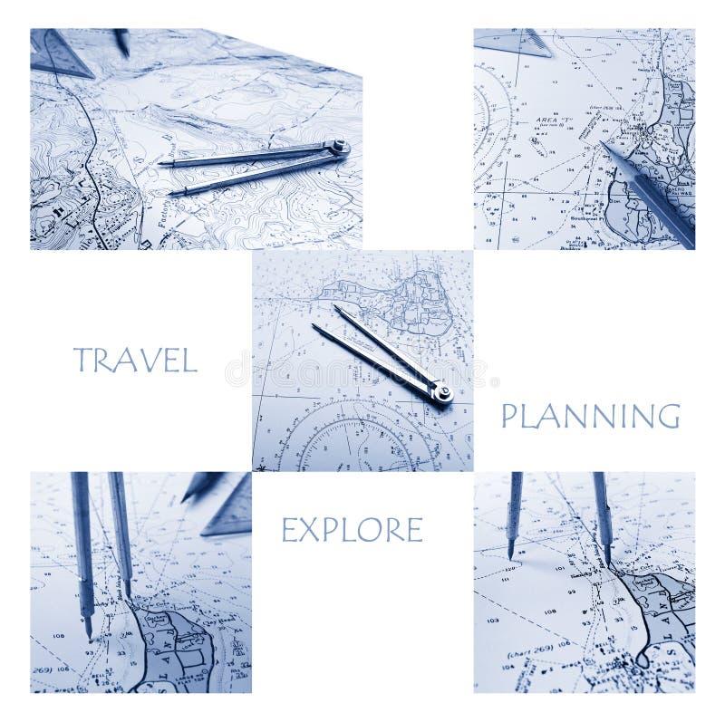 Plannning voor Reis en het onderzoeken van Concept stock illustratie