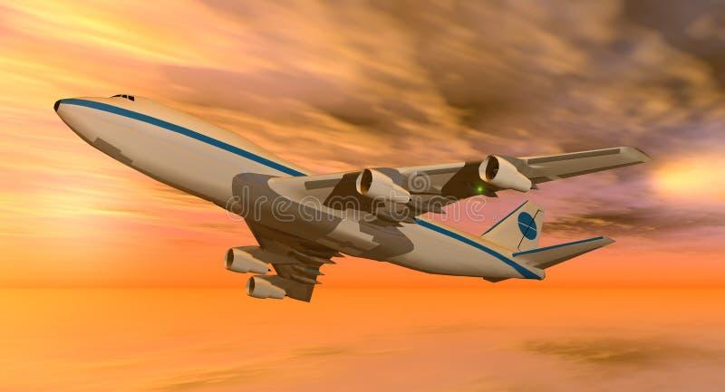 plano 747 no por do sol ilustração do vetor