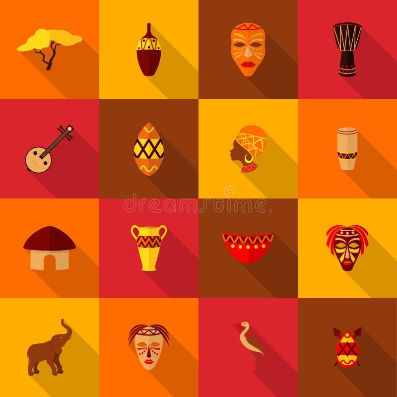 Plano ajustado ícones de África ilustração do vetor
