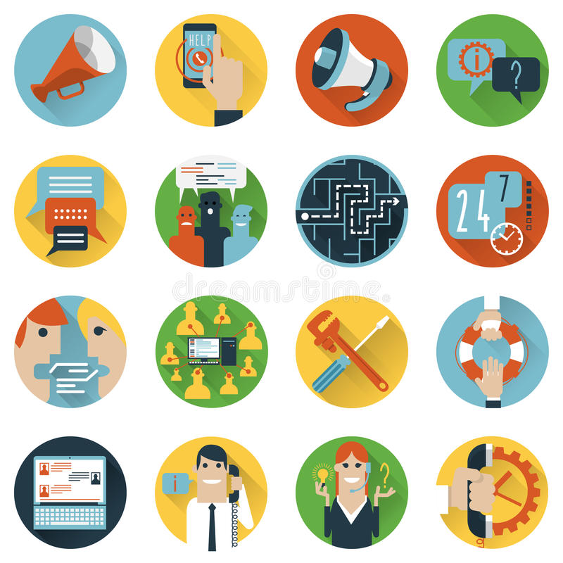 Plano ajustado ícones do conceito dos fóruns do Internet ilustração do vetor