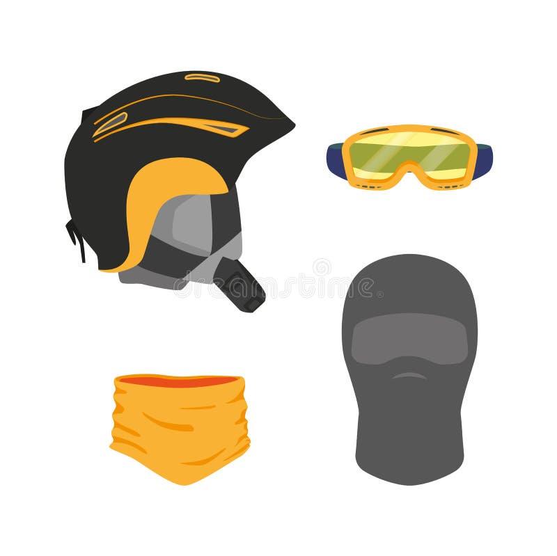 Plano ajustado do equipamento da snowboarding do vetor ilustração do vetor