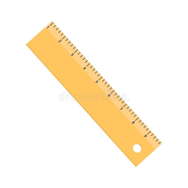Plano amarillo del icono de la regla aislado en el fondo blanco fotos de archivo