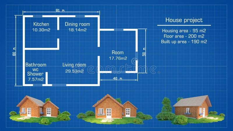 Plano arquitetónico da casa com modelos ilustração do vetor