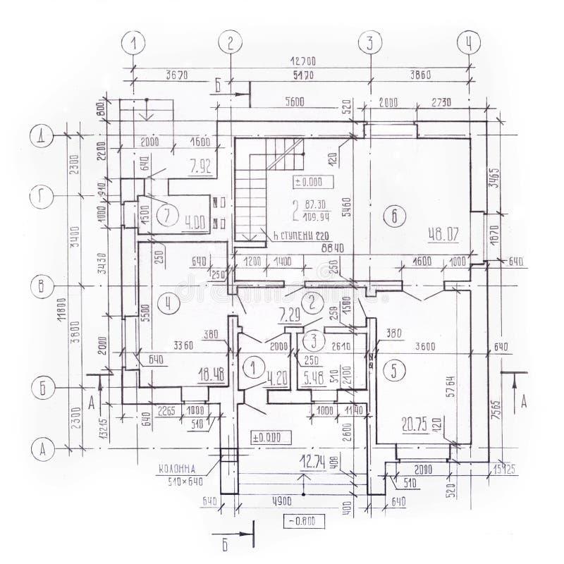 Plano arquitetónico da casa de campo, planta baixa, vista superior, desenho de trabalho detalhado Fundo arquitetónico do vintage  ilustração do vetor
