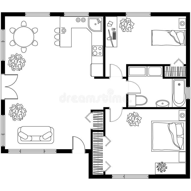 Plano arquitetónico de uma casa ilustração royalty free