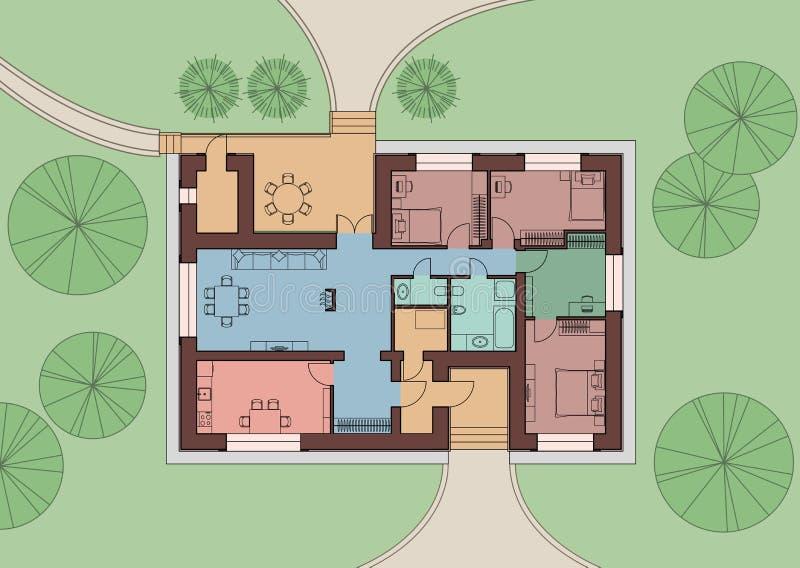Plano arquitetónico de uma construção residencial na terra Vista superior com mob?lia Ilustra??o do vetor ilustração stock