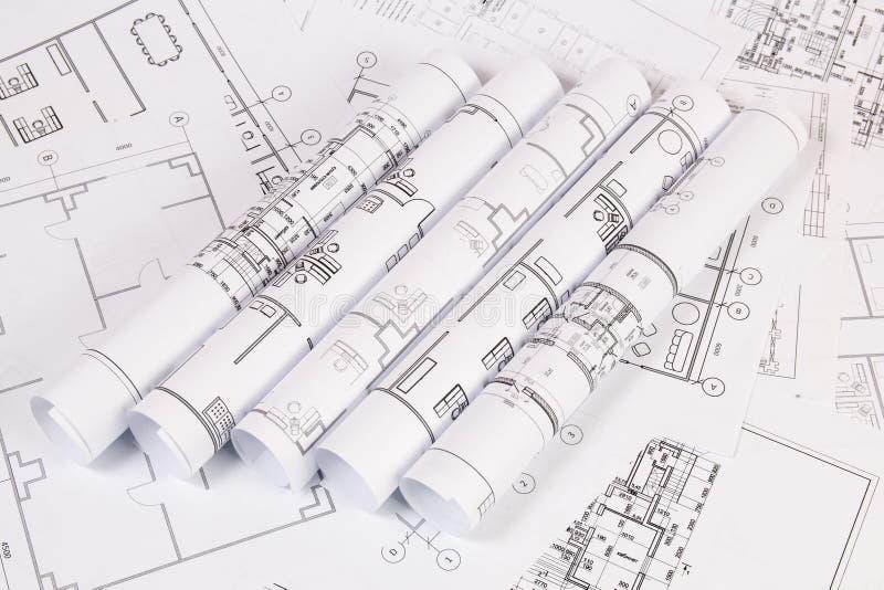 Plano arquitetónico Desenhos e modelos da casa da engenharia fotos de stock