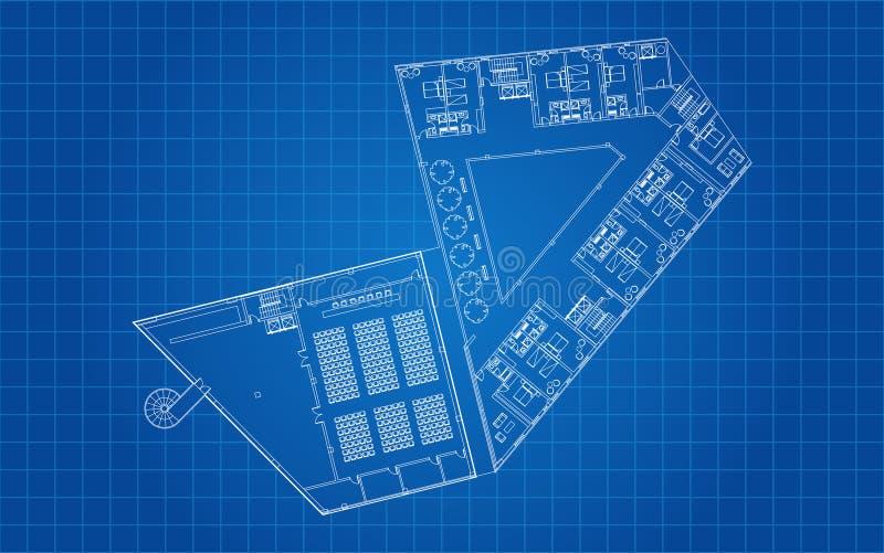Plano arquitetónico do assoalho moderno do hotel ilustração royalty free