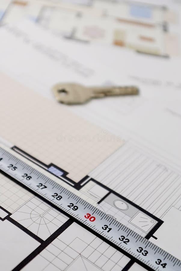 Plano arquitetónico para construir uma casa foto de stock