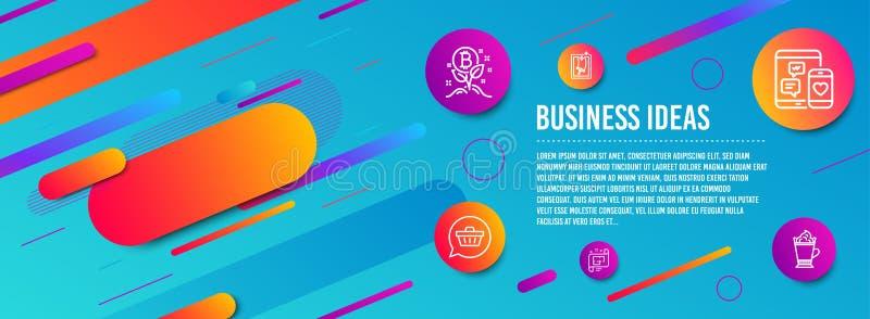 Plano arquitetónico, projeto de Bitcoin e de ícones do carrinho de compras grupo Vetor ilustração royalty free