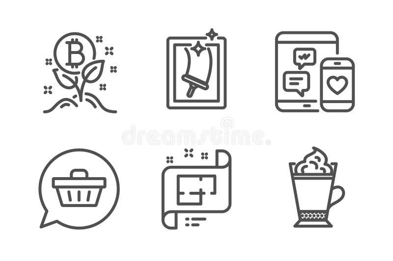 Plano arquitetónico, projeto de Bitcoin e de ícones do carrinho de compras grupo Vetor ilustração stock