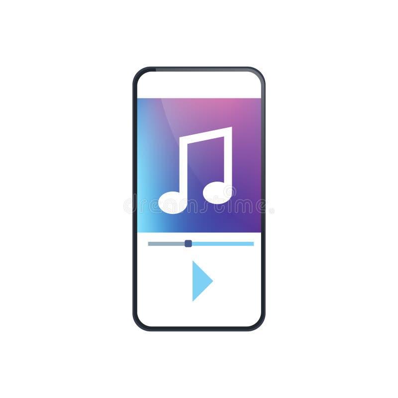 Plano blanco del fondo de la aplicación móvil de la pantalla del smartphone del interfaz del app del jugador de música ilustración del vector