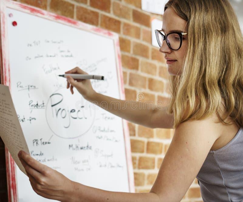 Plano caucasiano do projeto da escrita da mulher na placa branca imagens de stock