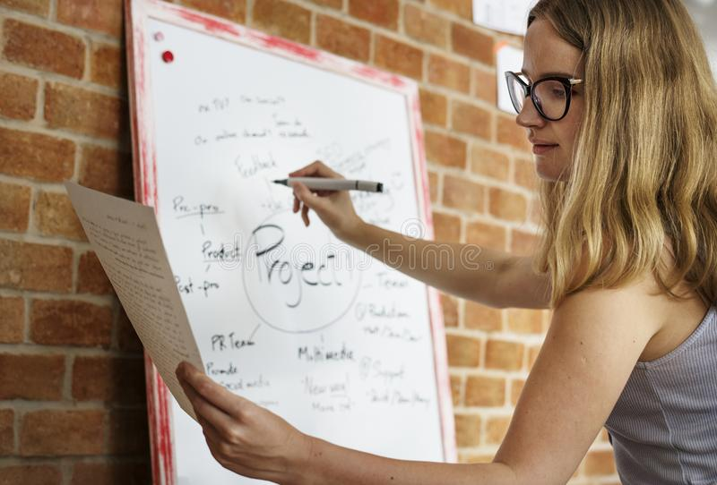 Plano caucasiano do projeto da escrita da mulher na placa branca foto de stock