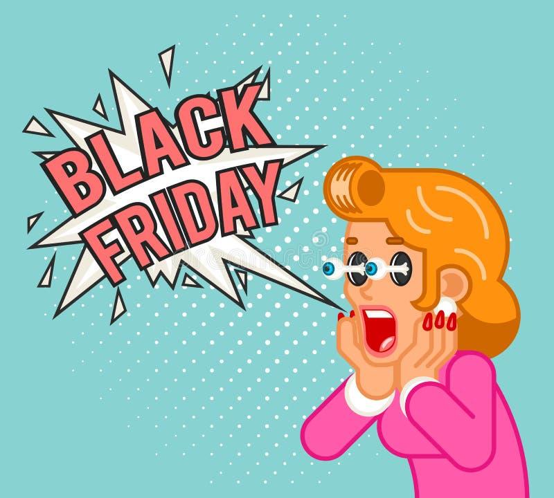 Plano chocado surpreendido da oferta da atividade comercial do grito da mulher da menina do cliente de sexta-feira venda preta ca ilustração stock