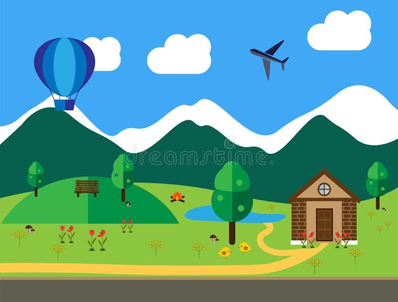 Plano coloreado paisaje del ejemplo de la historieta ilustración del vector