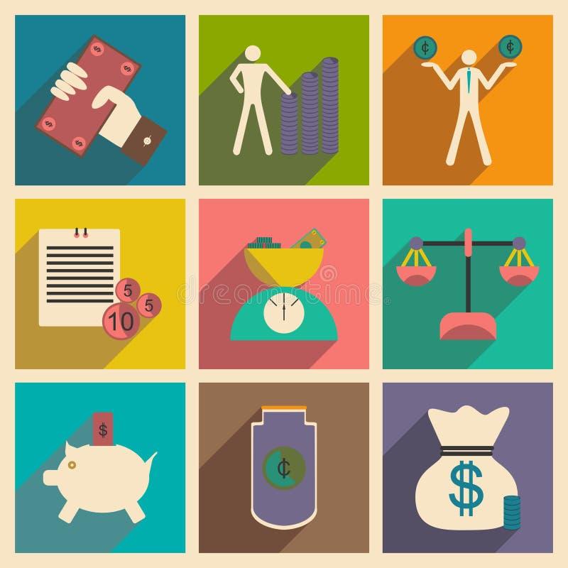 Plano com ícones econômicos à moda do conceito da sombra ilustração stock
