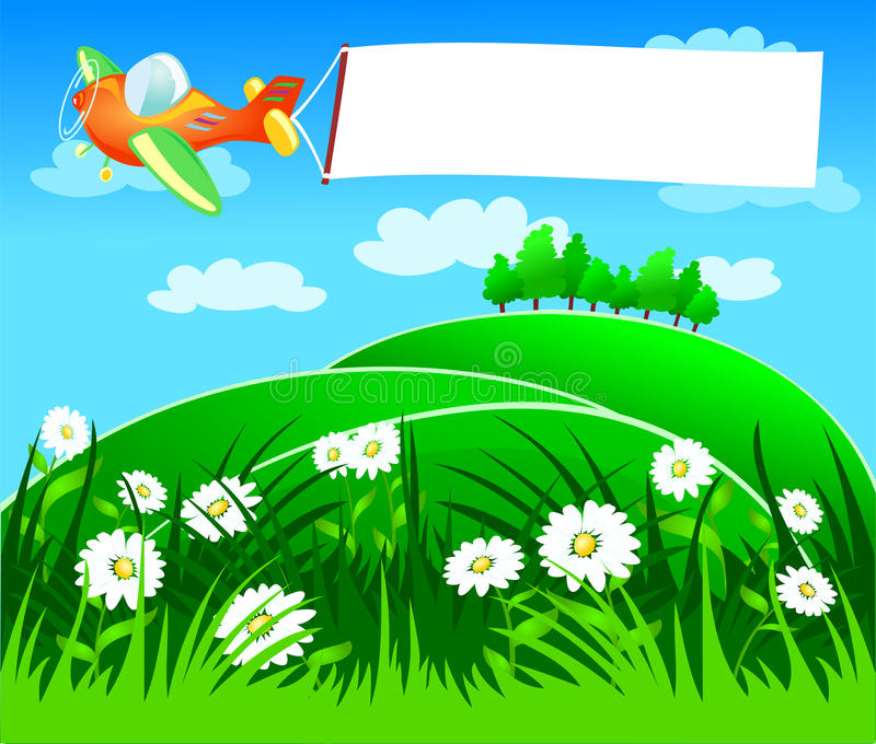 Plano com bandeira branca ilustração stock