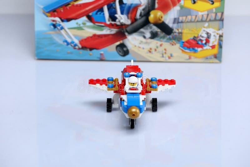 Plano construído dos tijolos de Lego imagens de stock royalty free