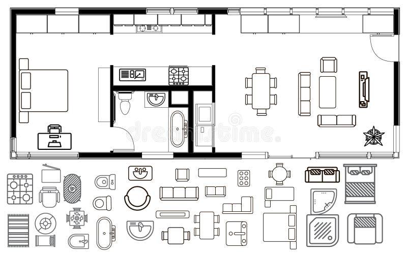 Plano da arquitetura com mobília na vista superior ilustração stock