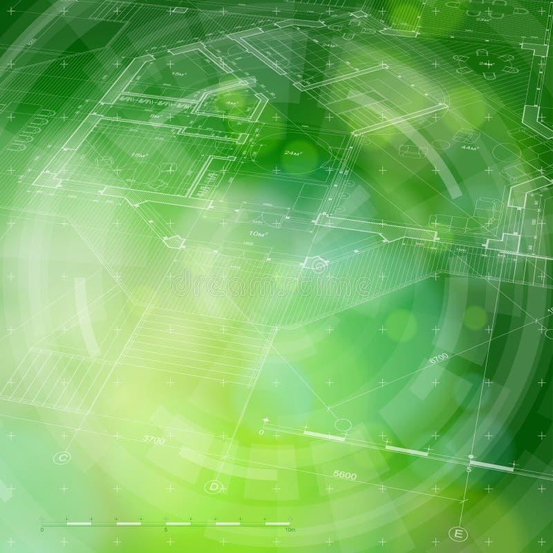 Plano da casa do modelo & fundo verde ilustração do vetor