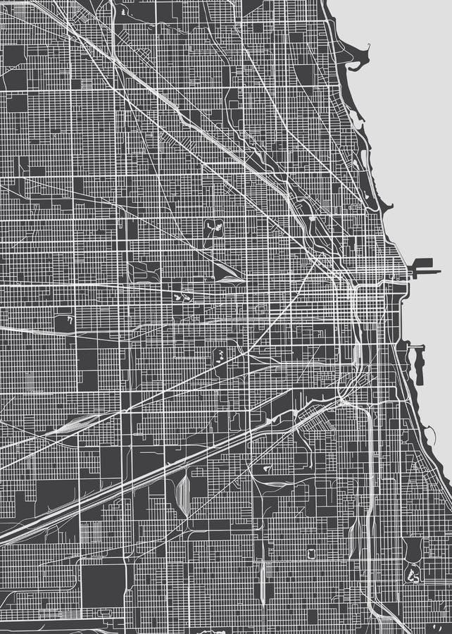 Plano da cidade de Chicago, mapa detalhado do vetor ilustração royalty free