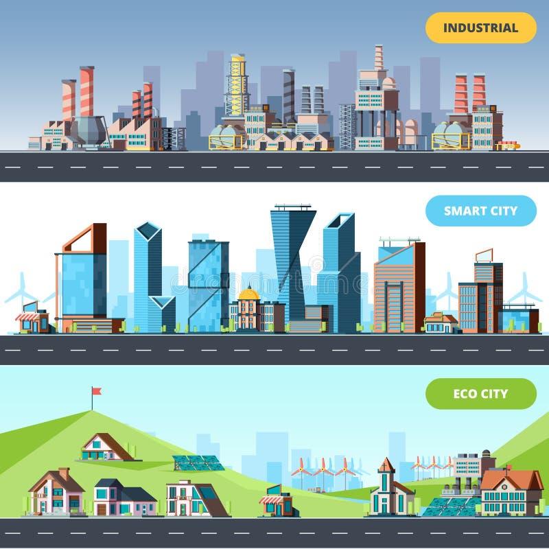 Plano da cidade Dos objetos arquitetónicos espertos industriais da cidade da ecologia vetor diferente da fábrica das construções  ilustração royalty free