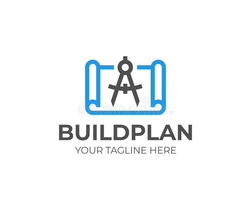 Plano da construção com molde do logotipo do divisor Projeto arquitetónico do vetor do projeto ilustração stock