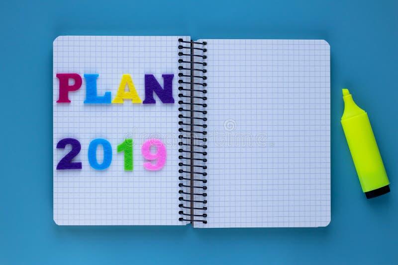 Plano da inscrição Copie, espaço vazio Caderno em branco Plano da educação 2019 anos Cartão para o conceito do planeamento Cadern imagem de stock royalty free