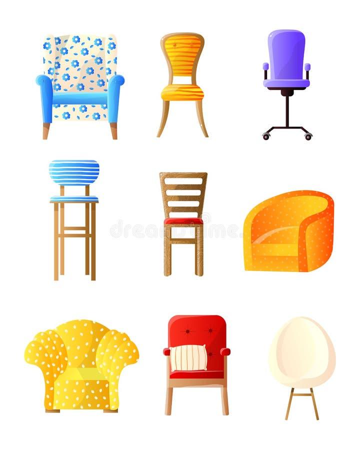 Plano da mobília da casa ajustado com cadeiras, poltronas, artigos dos tamboretes ilustração do vetor