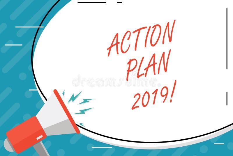 Plano de ação 2019 do texto da escrita Objetivos das ideias do desafio do significado do conceito para que a motivação do ano nov ilustração do vetor