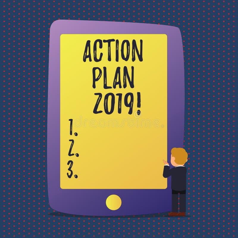 Plano de ação 2019 do texto da escrita Objetivos das ideias do desafio do significado do conceito para que a motivação do ano nov ilustração stock