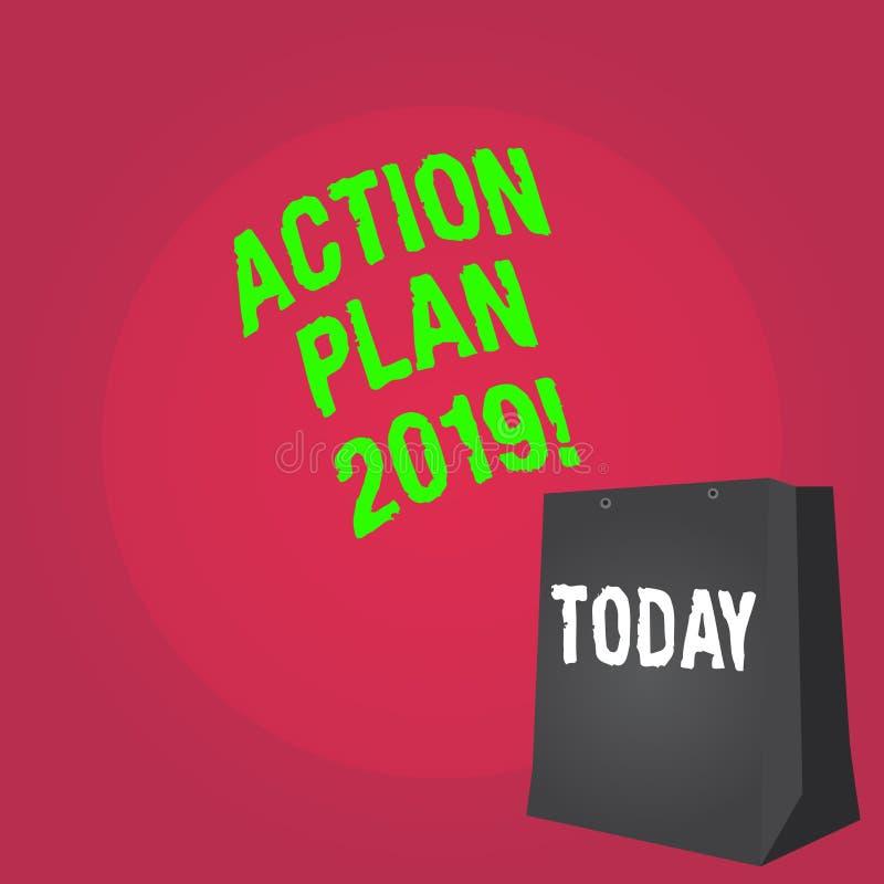 Plano de ação 2019 do texto da escrita da palavra Conceito do negócio para objetivos das ideias do desafio para que a motivação d ilustração stock