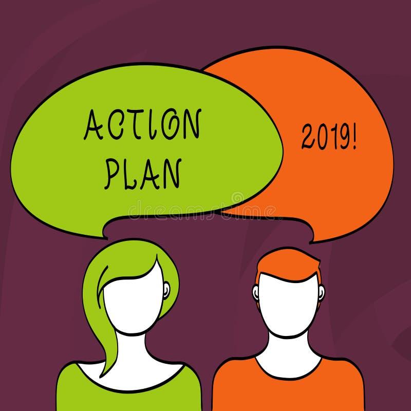 Plano de ação 2019 do texto da escrita da palavra Conceito do negócio para objetivos das ideias do desafio para que a motivação d ilustração do vetor