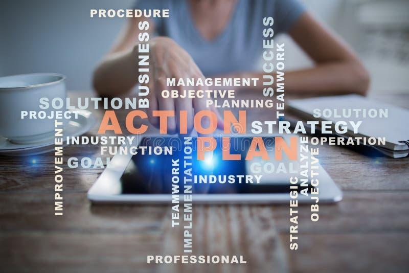 Plano de ação na tela virtual Conceito do negócio Nuvem das palavras fotografia de stock