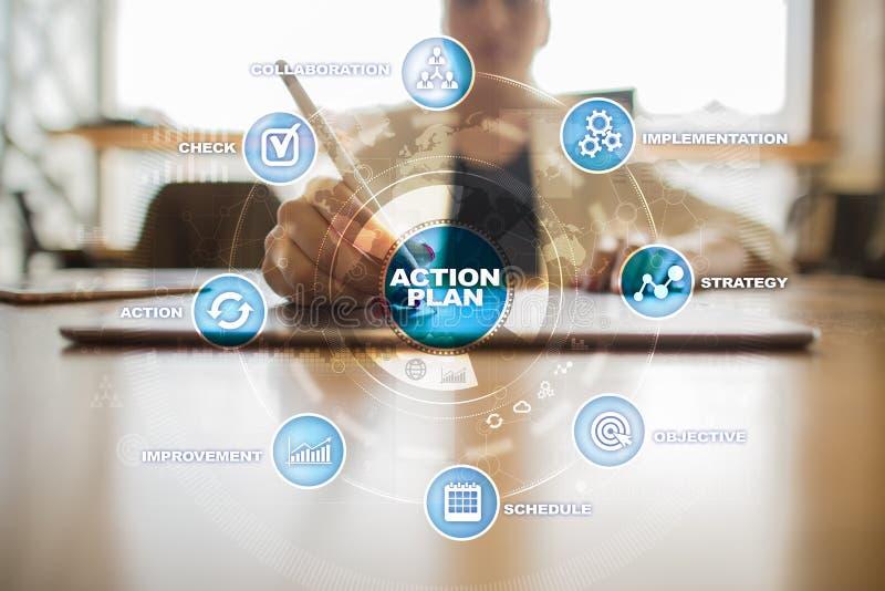 Plano de ação na tela virtual Conceito do planeamento Estratégia empresarial fotos de stock royalty free