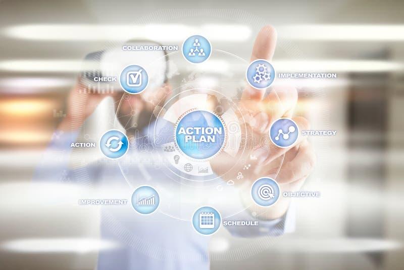Plano de ação na tela virtual Conceito do planeamento Estratégia empresarial fotografia de stock royalty free