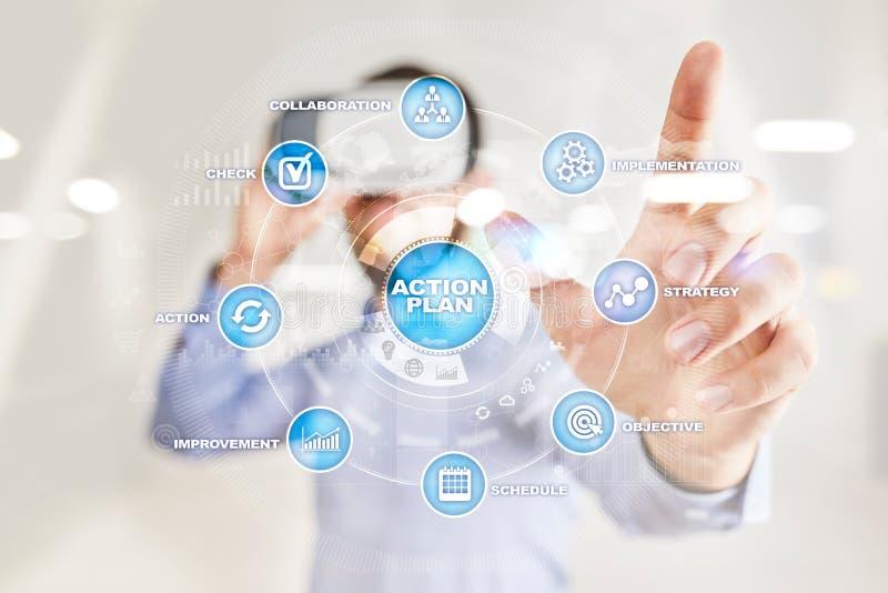 Plano de ação na tela virtual Conceito do planeamento Estratégia empresarial foto de stock royalty free