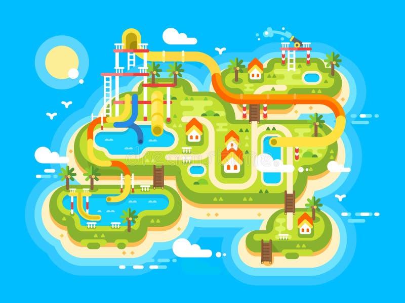 Plano de Aquapark liso ilustração do vetor