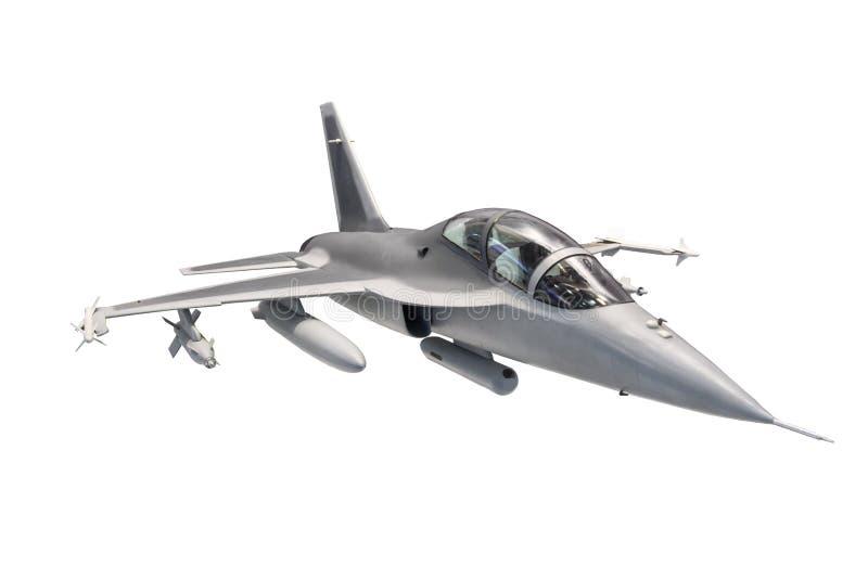 Plano de avião de combate com a arma isolada no fundo branco ilustração royalty free