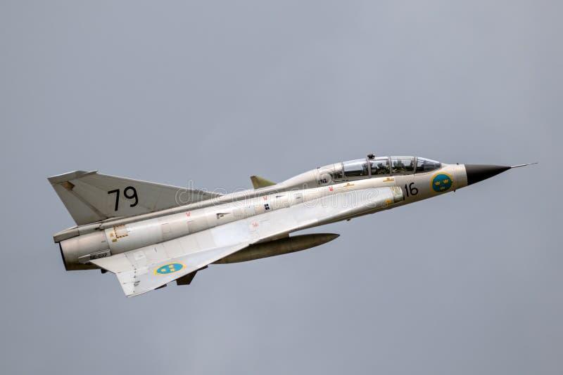 Plano de avião de combate de Saab Draken foto de stock royalty free