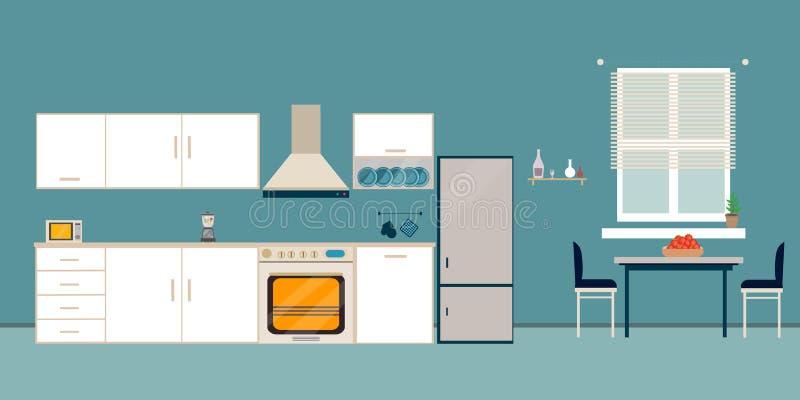 Plano de cena interior blanco de la cocina libre illustration