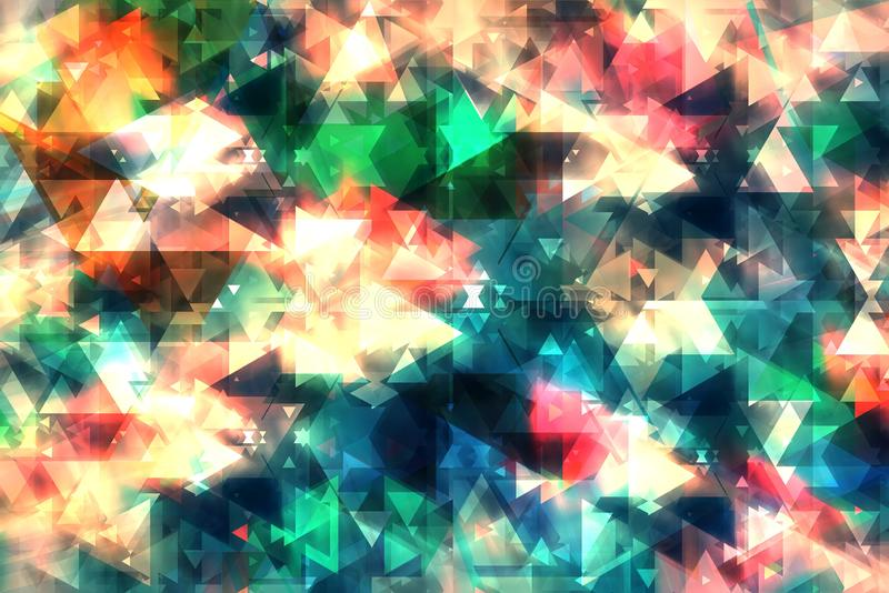 Plano de fundo abstrato da dupla exposição da forma de triângulo colorido com luz Fundo da tecnologia fotografia de stock