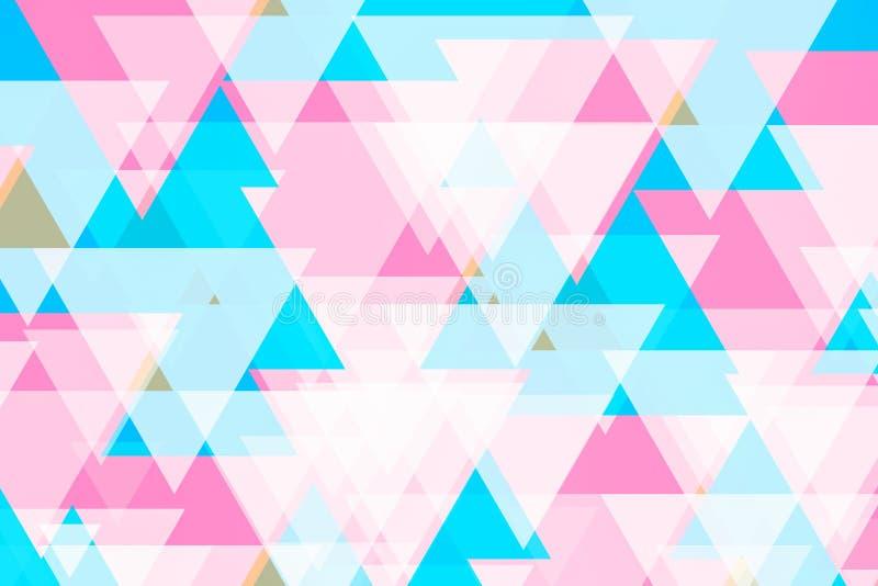Plano de fundo abstrato de muitos triângulos padrão na parede branca Tons rosa e azul Plano de fundo colorido fotos de stock royalty free