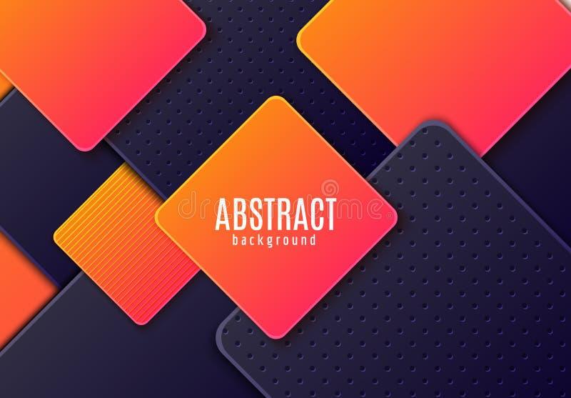 Plano de fundo horizontal abstrato com o rhombus em camadas cinzento escuro e laranja gradiente. Vetor de papel minimalista cortad ilustração stock