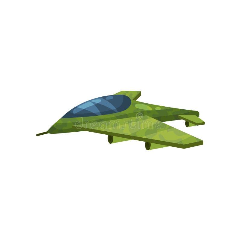 Plano de jato pequeno da camuflagem Avião militar rápido Tema da aviação Elemento liso do vetor para o computador ou o jogo móvel ilustração do vetor