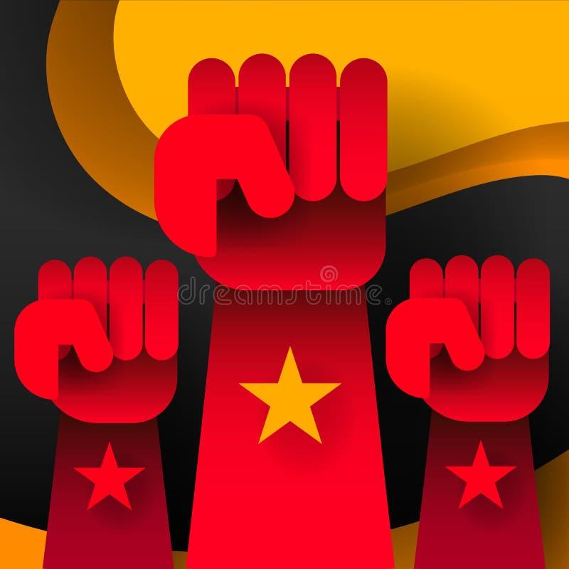 Plano de la revolución Vector social de la red Fondo blanco Cartel de la revolución, mano del puño Estilo plano stock de ilustración